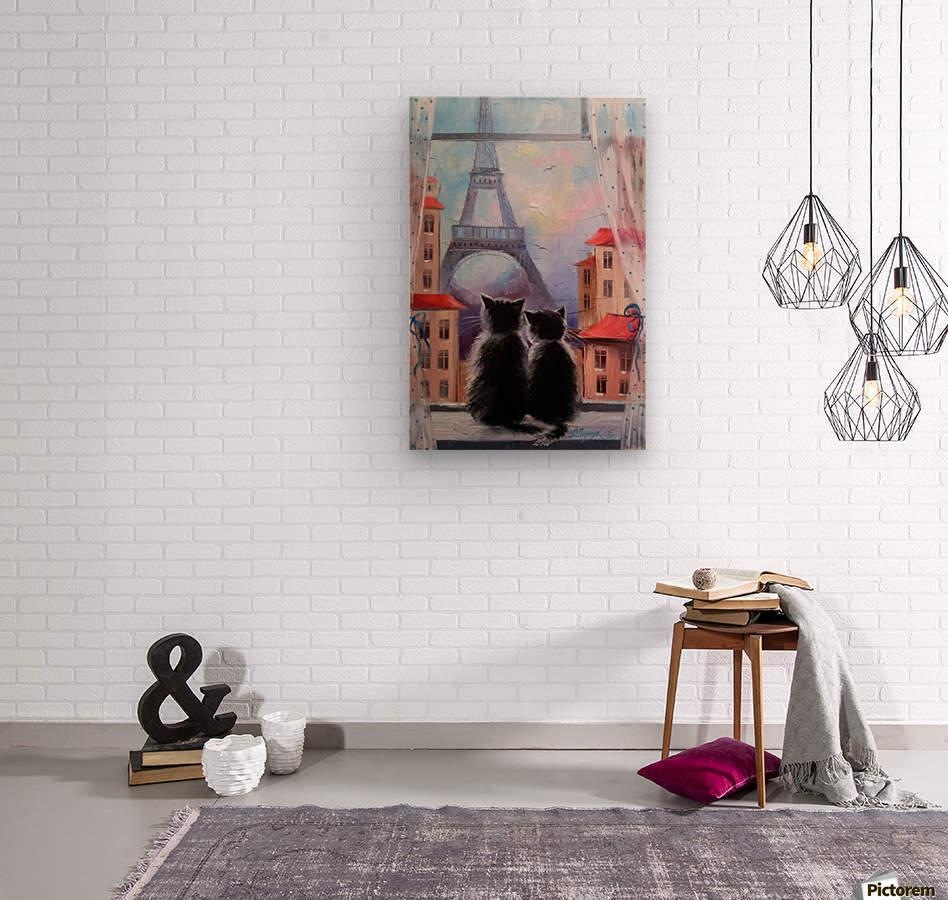 Друзя в Париже  Wood print