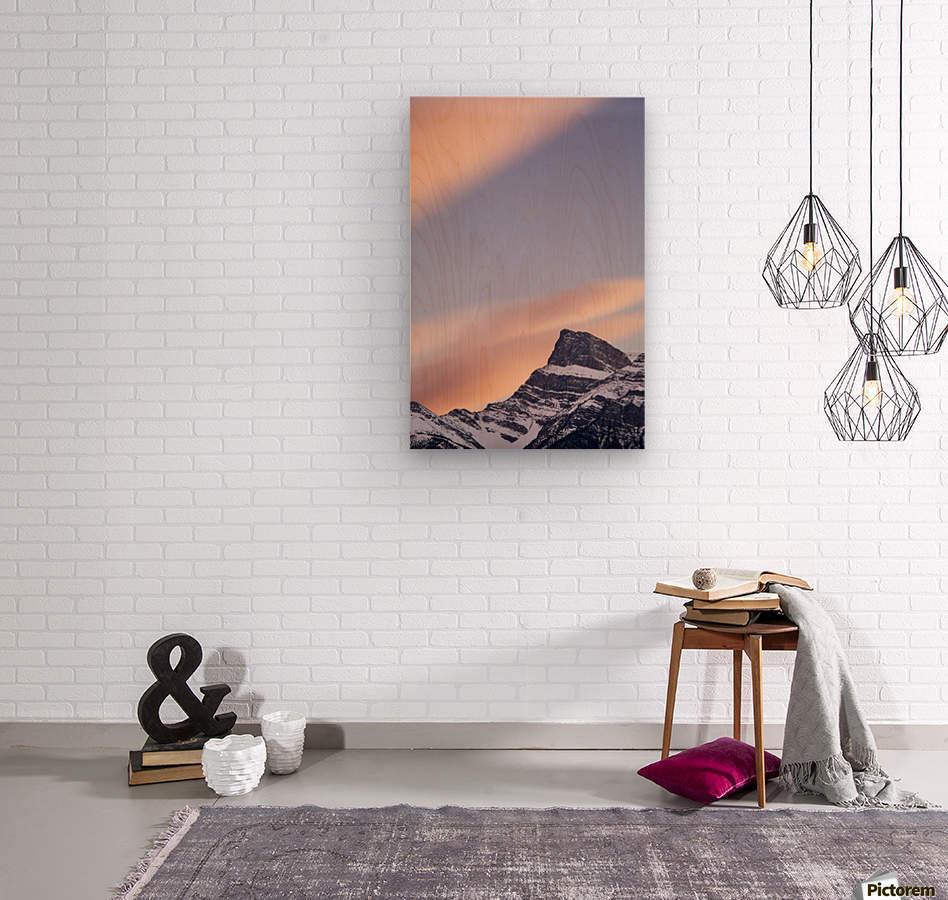 Clouds At Sunset Above Mountain Peaks, Kootenay Plains, Alberta, Canada  Wood print