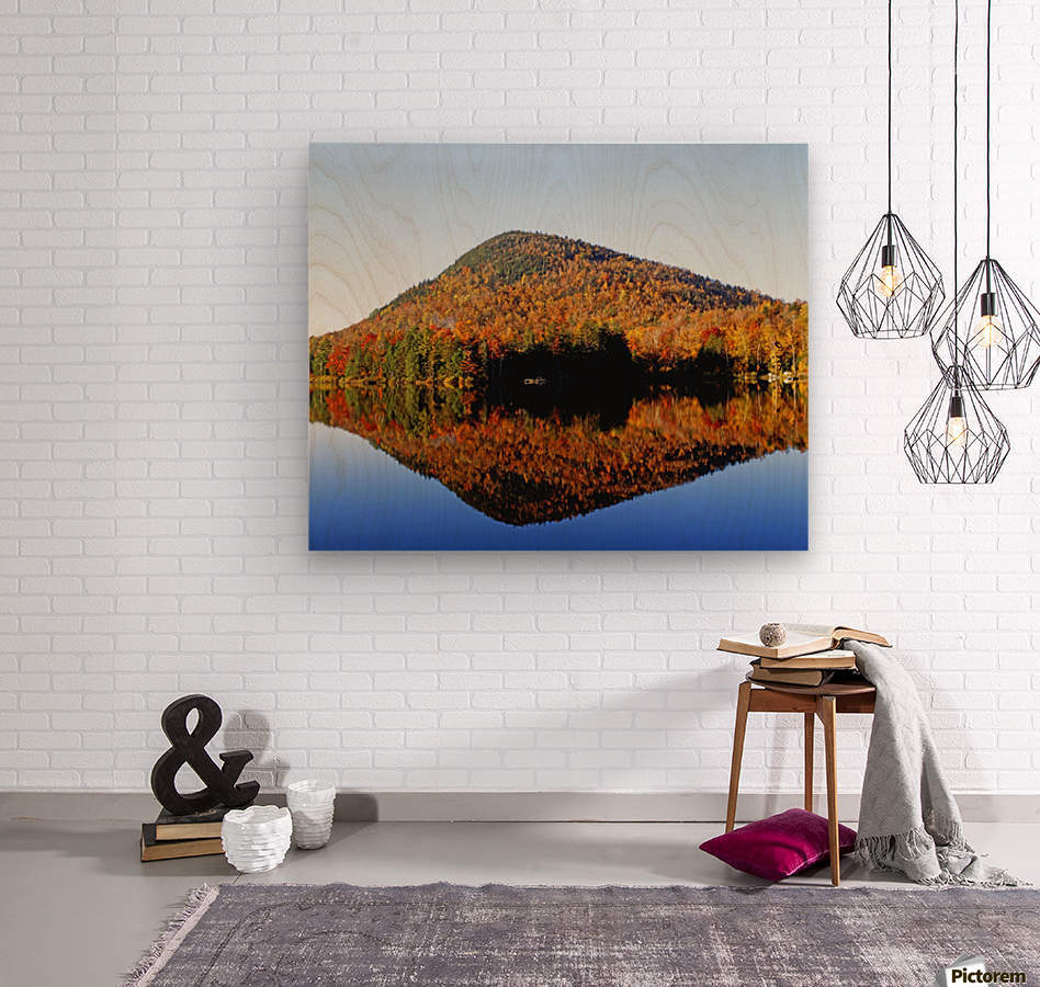 Autumn Colours Reflected In Water, Eastern Townships, Quebec, Canada  Wood print