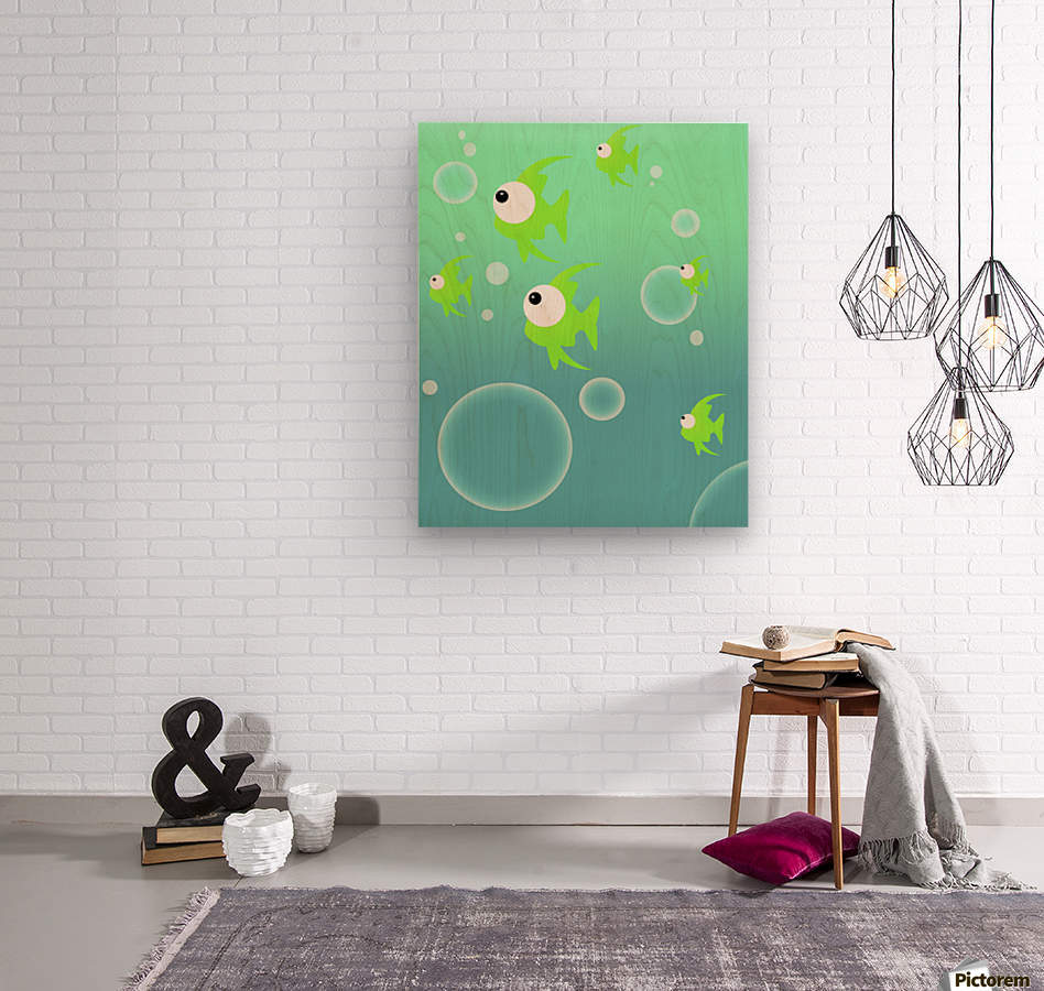 Illustration Of Fish And Bubbles  Wood print