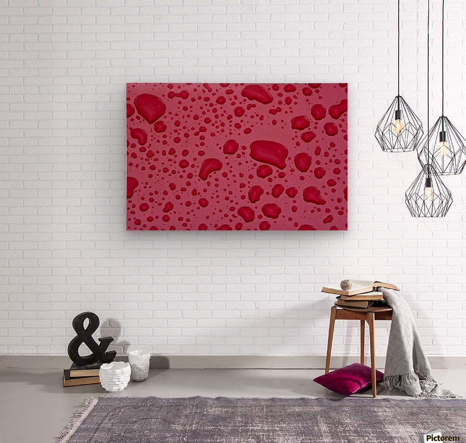 Water Drops On Pink Surface  Wood print