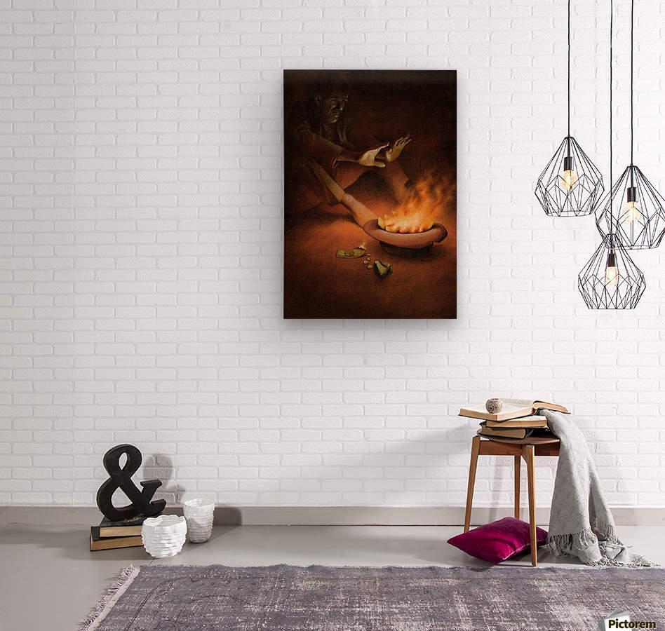 Money on Fire  Wood print