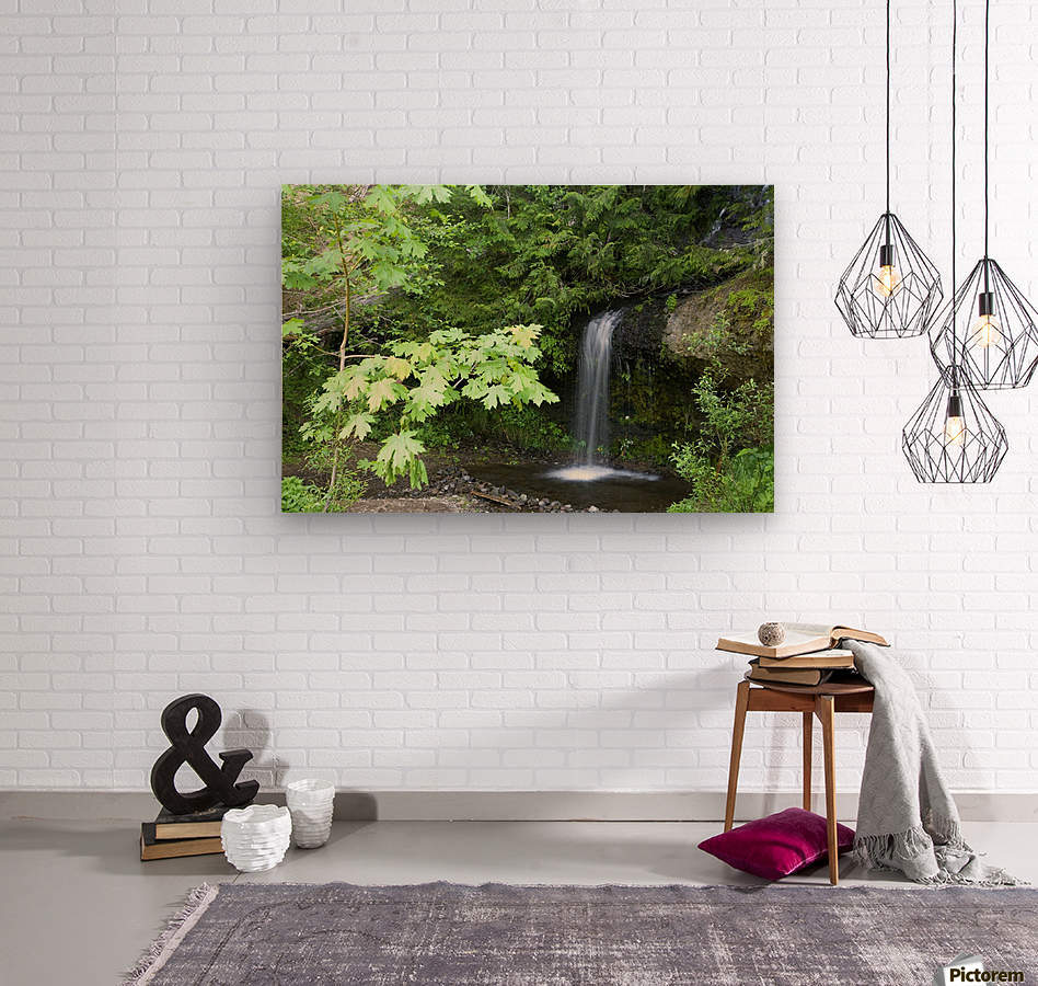 Waterfall In The Forest  Wood print