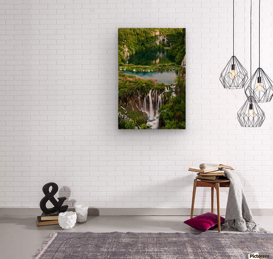 Waterfall Paradise Plitvice Lakes in Croatia  Wood print
