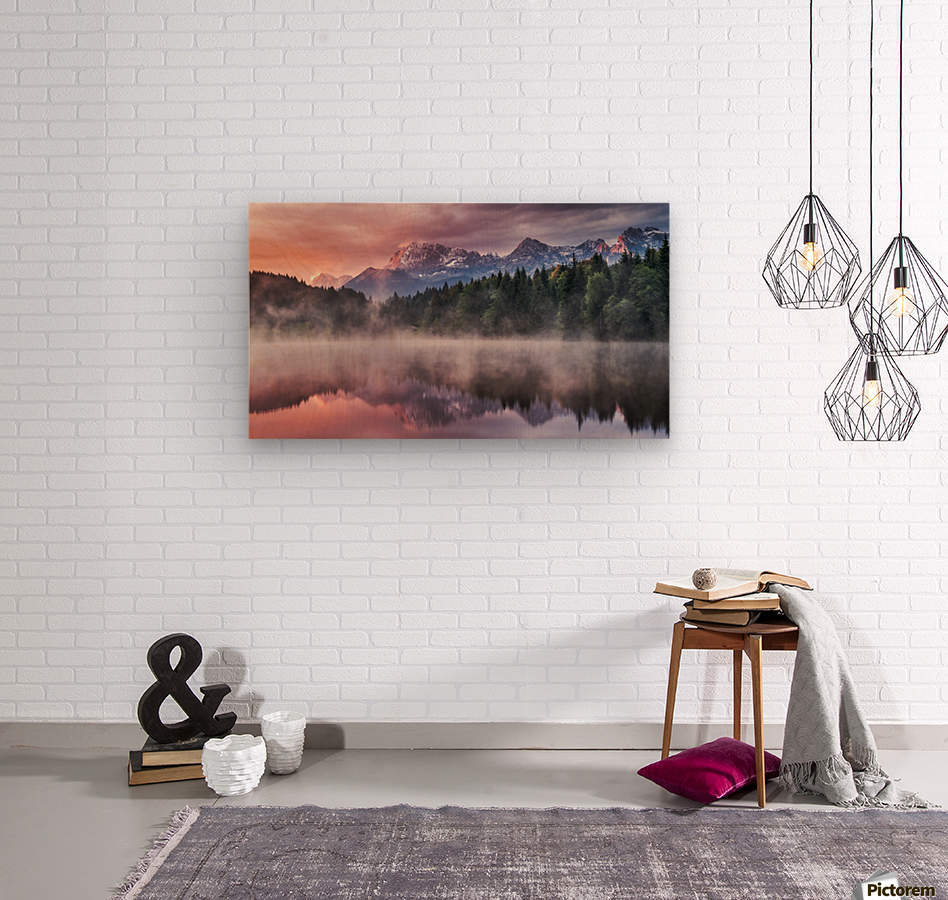 Sunrise at a Lake with Alps in the Background  Wood print