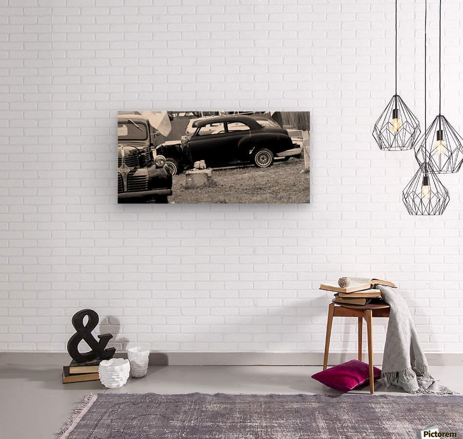 Black and White Vintage Cars  Wood print