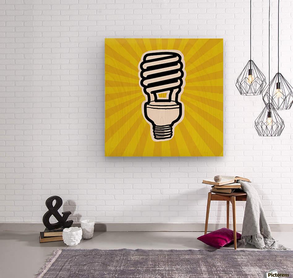 Compact Fluorescent Lightbulb  Wood print