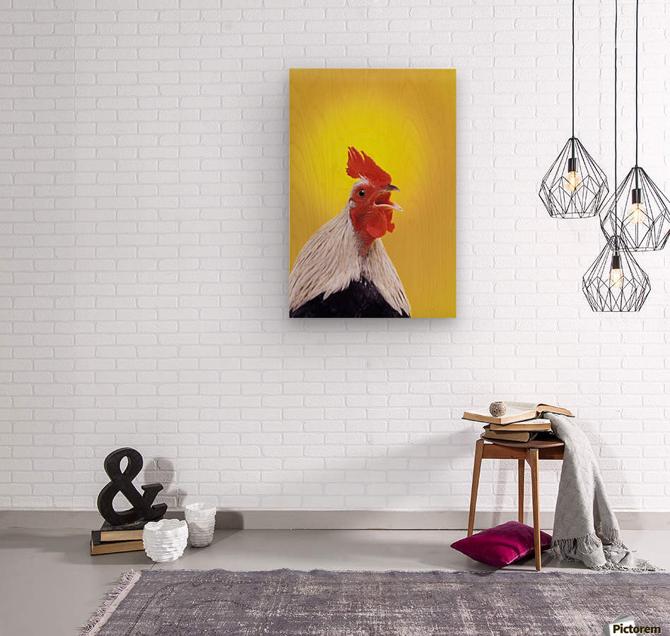 Crowing rooster;British columbia canada  Wood print