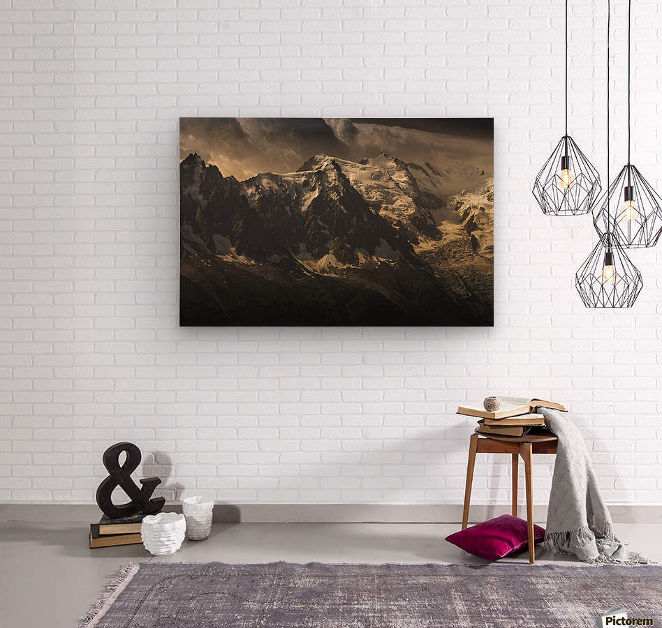 Aiguille du Midi and Mont Blanc, French Alps  Wood print