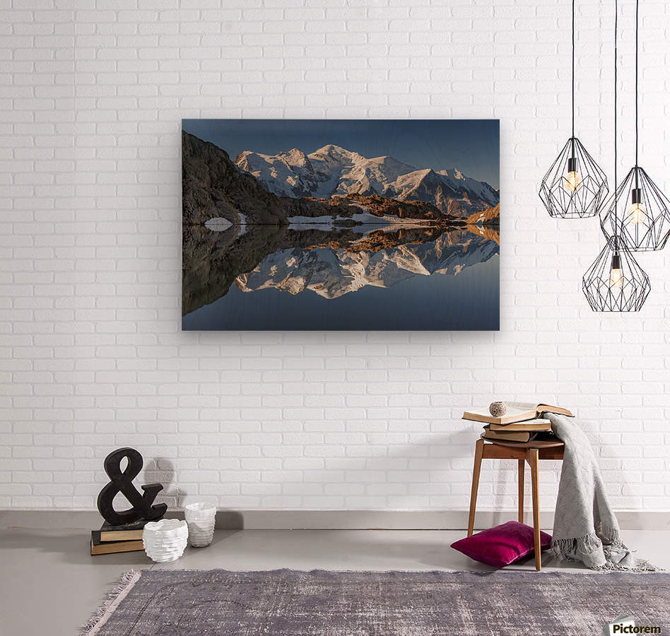 White in Black (Mont Blanc in Lac Noir), French Alps  Wood print