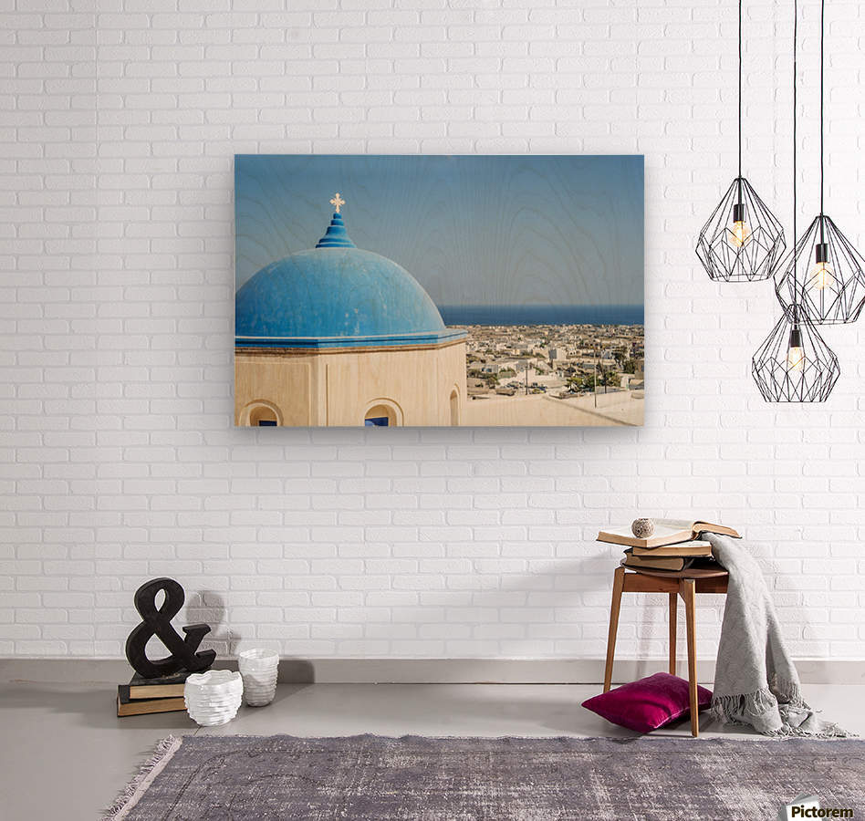 Church with a blue dome roof and view of the Aegean sea; Megalochori, Santorini, Greece  Wood print