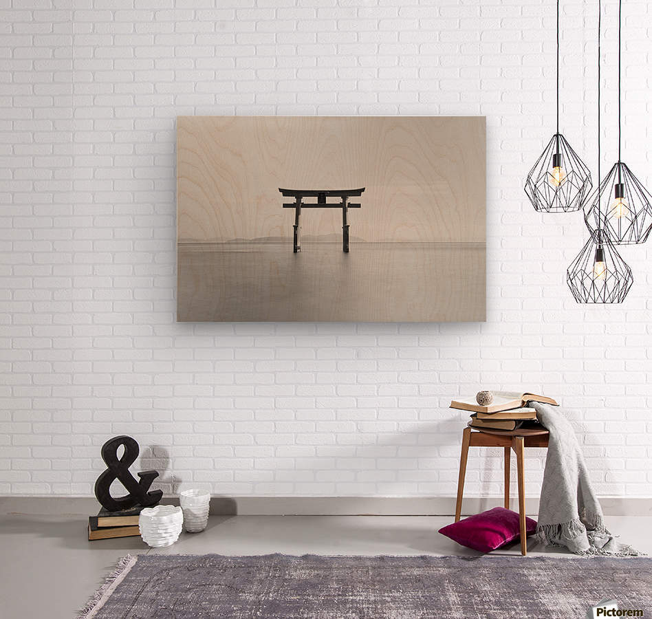 Black and white image of a floating shrine on a lake; Takashiyama, Shiga, Japan  Wood print