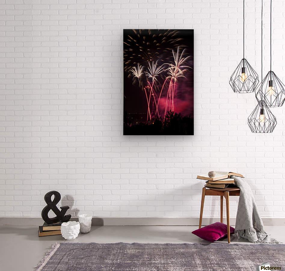 Colourful fireworks at nighttime; Calgary, Alberta, Canada  Wood print