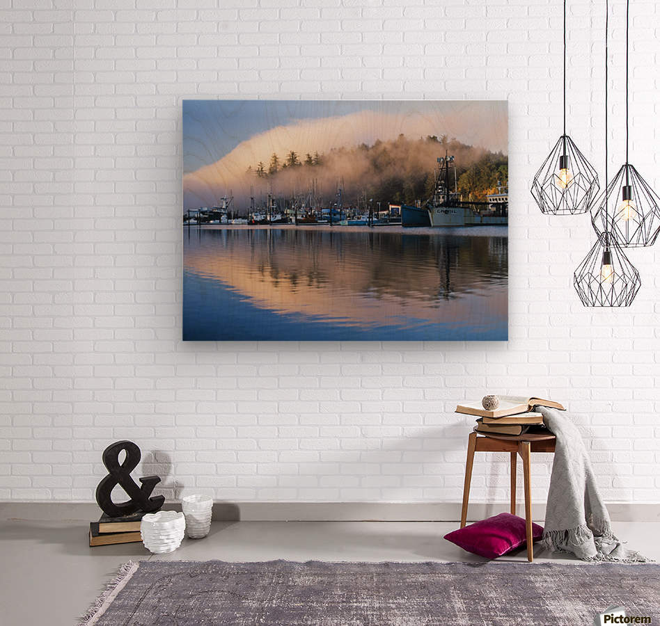 Boats dock at Winchester Bay; Oregon, United States of America  Wood print