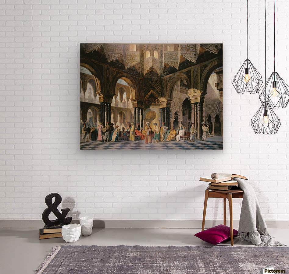 Interior of an oriental mosque  Wood print