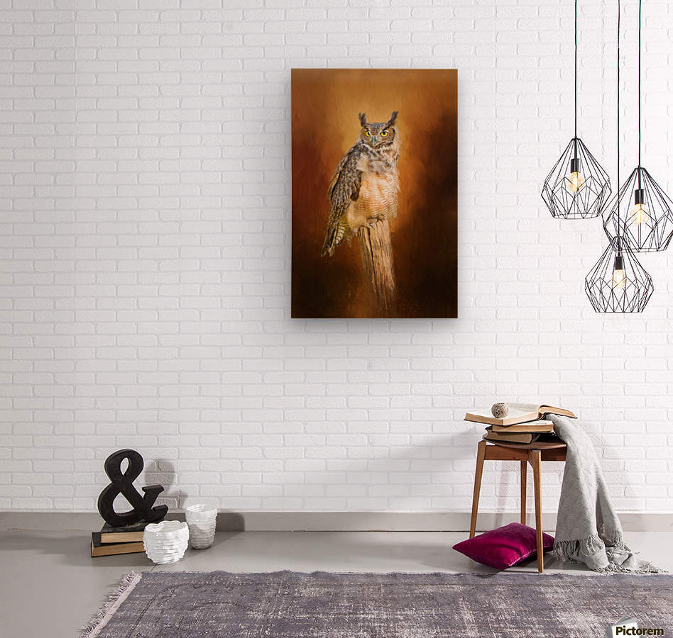 Great Horned Owl In Autumn  Wood print
