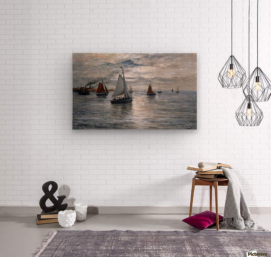 Sailing ships at Scheveningse coast  Wood print