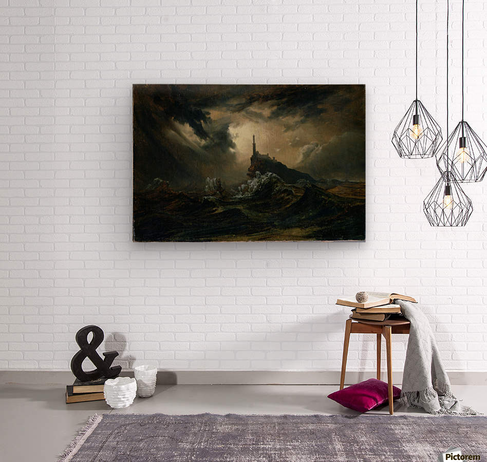 Sturmische See mit Leuchtturm  Wood print