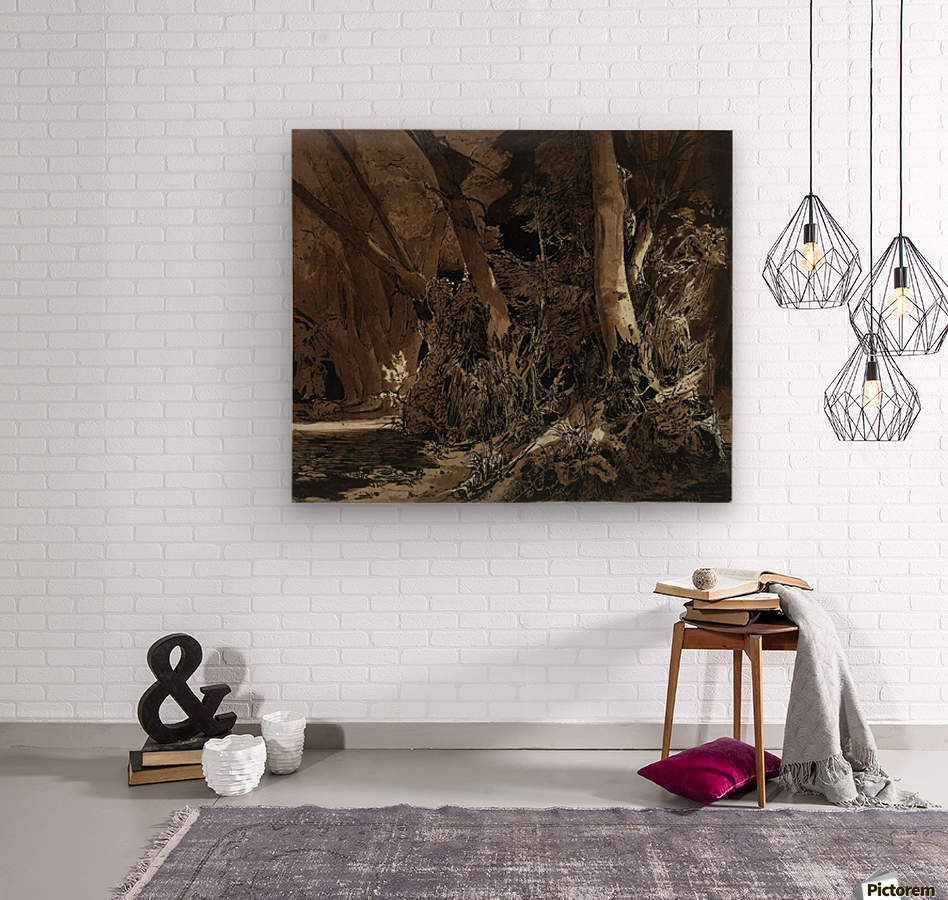 Forest landscape with flowing water and two hunters  Wood print