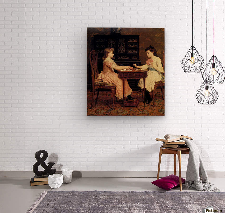 Two girls playing cards  Wood print