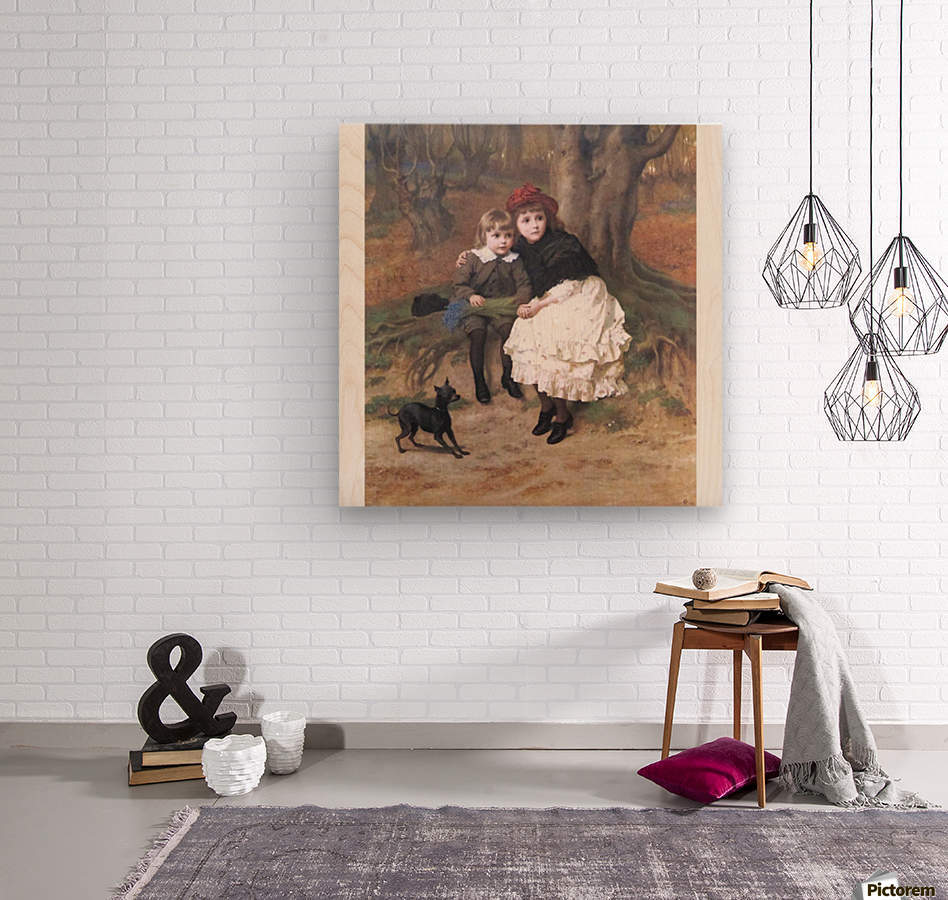 Two children and their dog  Wood print