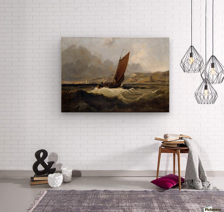 Sailing Boat off the Coast  Wood print