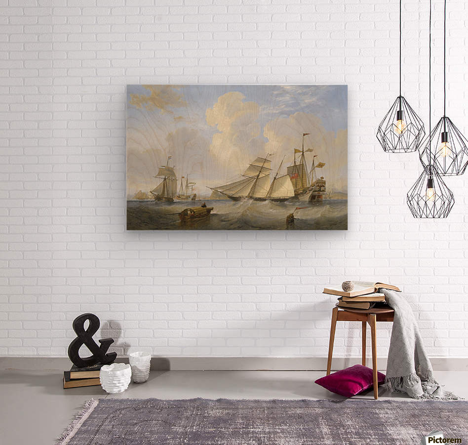 Lots of boats by the sea  Wood print