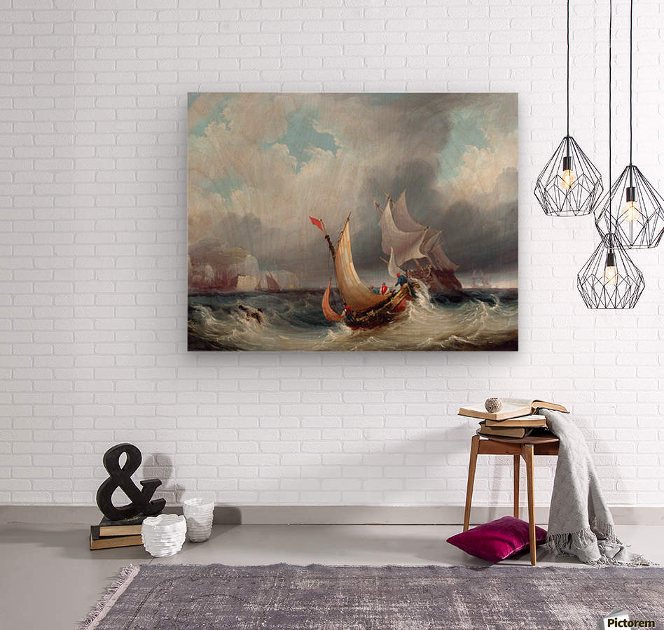 Shipping Offshore in a Stormy Sea  Wood print