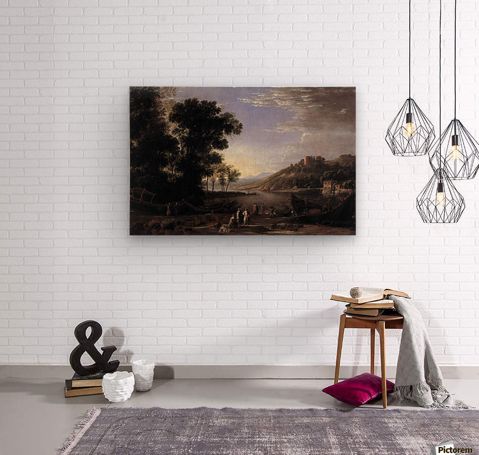 Paysage avec marchands  Wood print