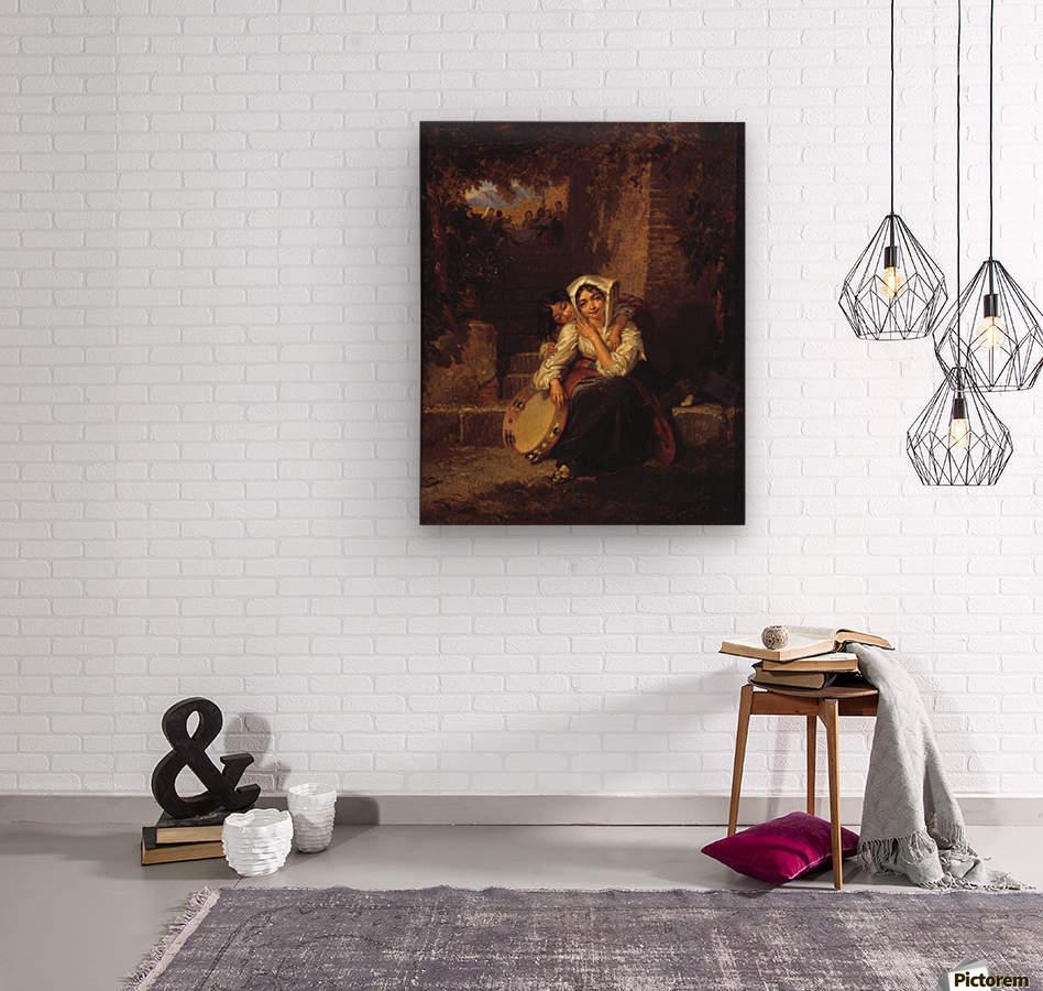 Two girls and a tamburine  Wood print