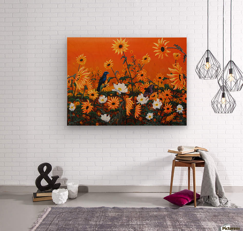 Sunflowers & Prickly Poppies  Wood print