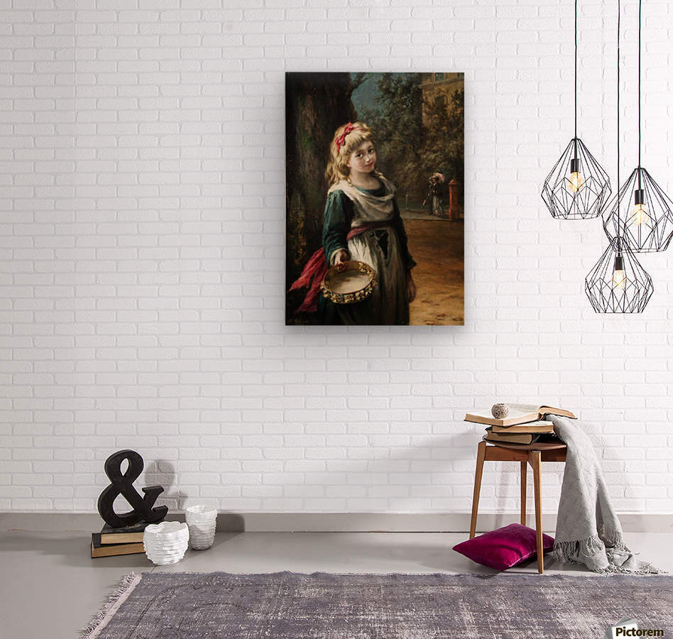 A young blonde girl  Wood print