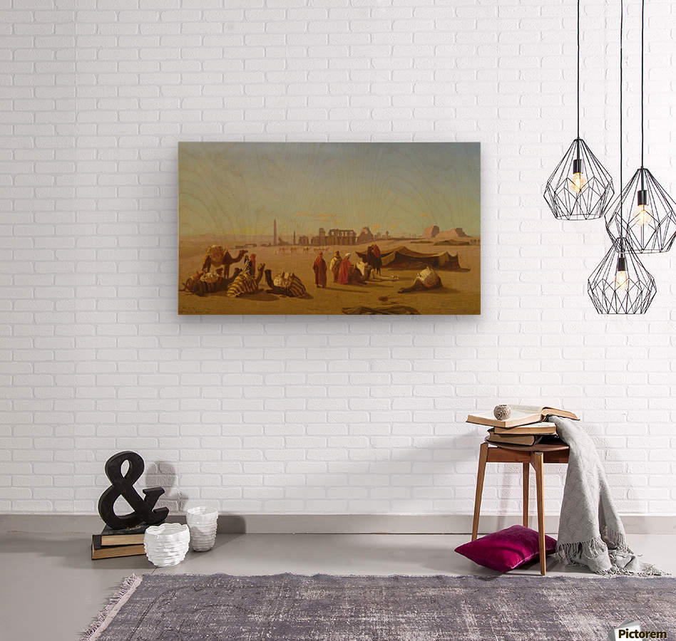 A caravan at rest, the Temple of Karnak, Thebes in the distance  Wood print