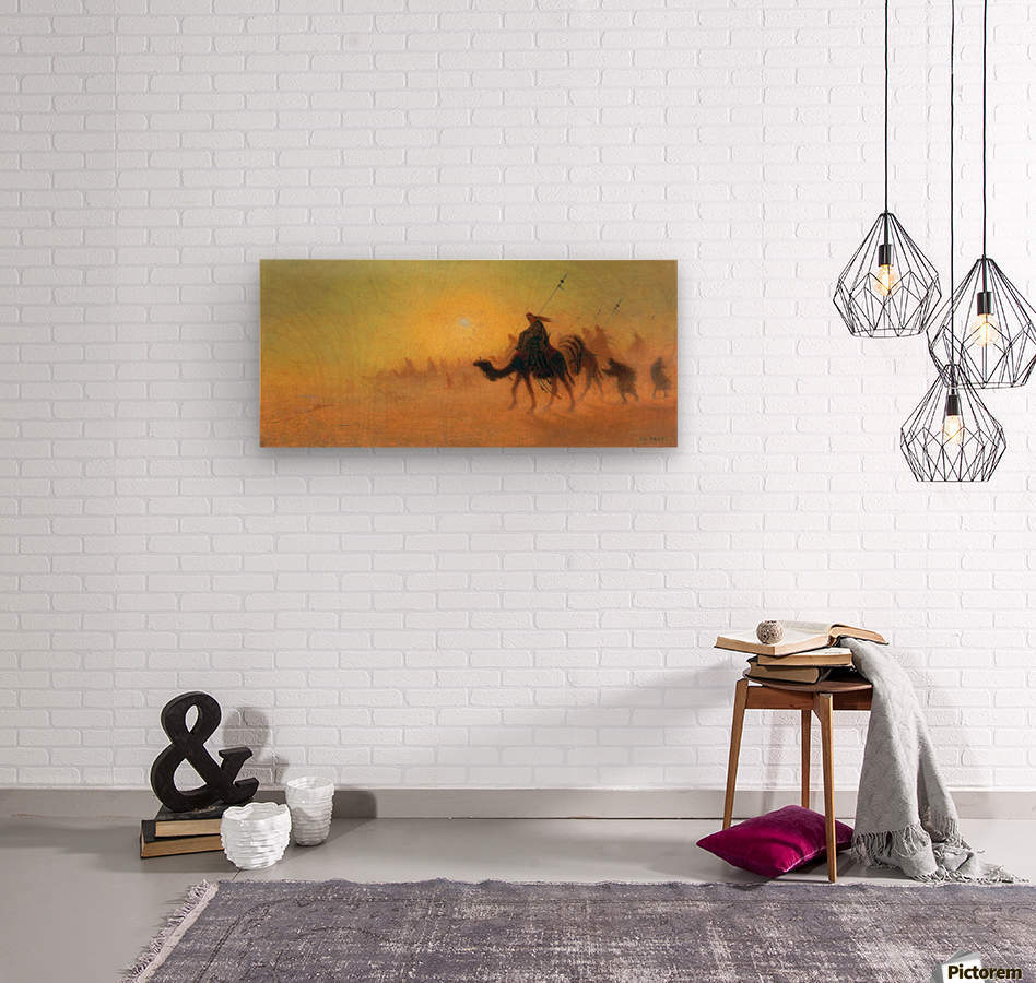 Caravan traveling in the desert  Wood print