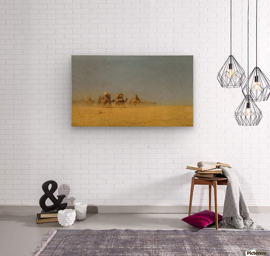 Camel train in the desert  Wood print