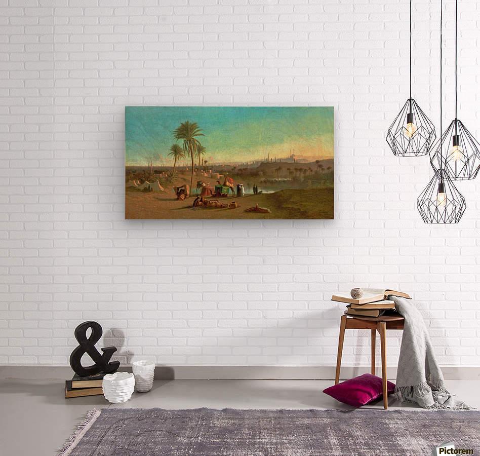 A Camel Train at an Oasis, Cairo Beyond 1853  Wood print