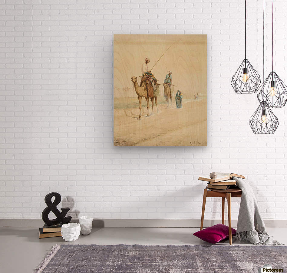 Arab travellers on an egyptian road  Wood print