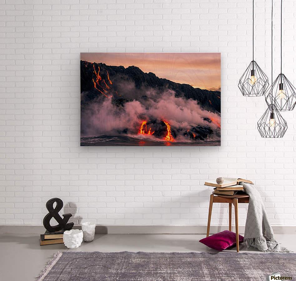 Sunrise at the lava flow  Wood print