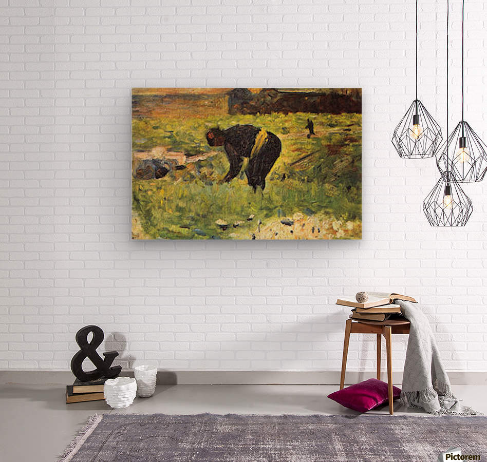 Farmer at work by Seurat  Wood print