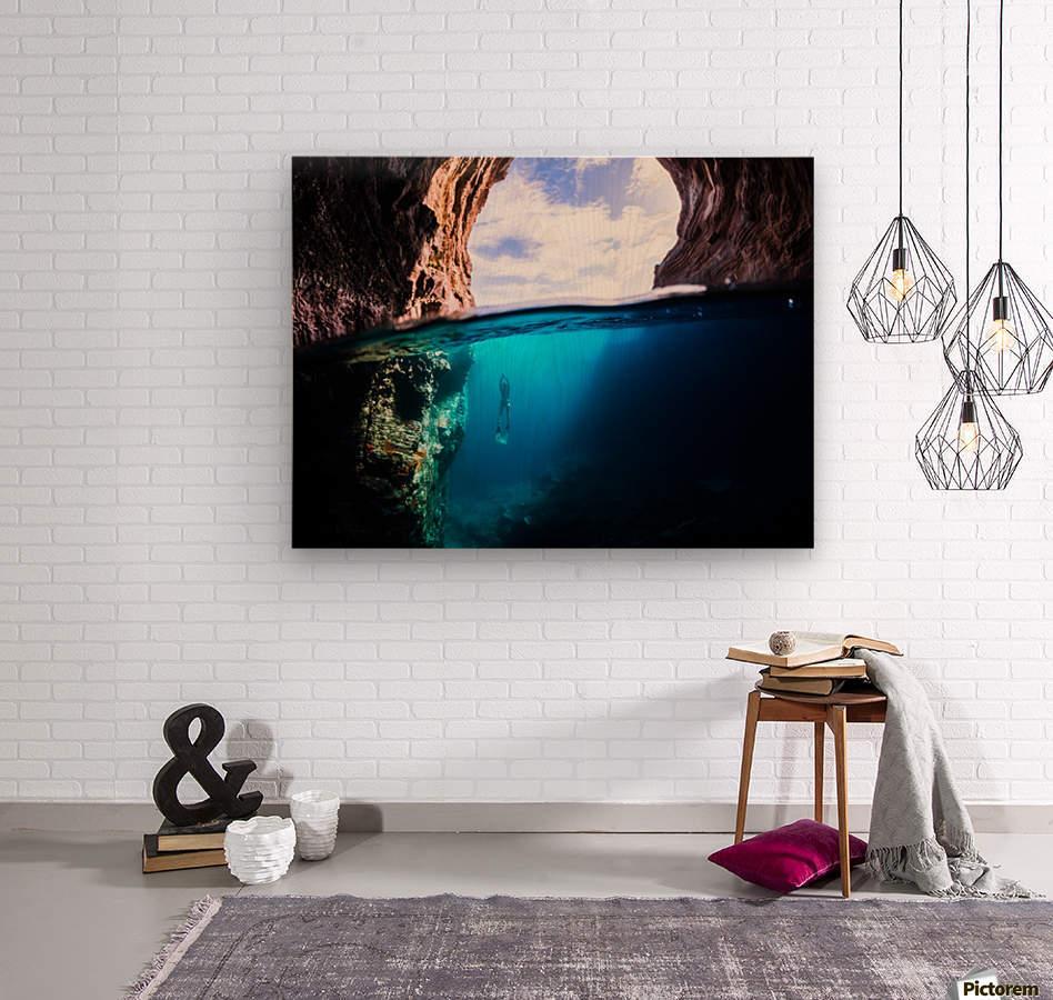 Cave diving  Wood print