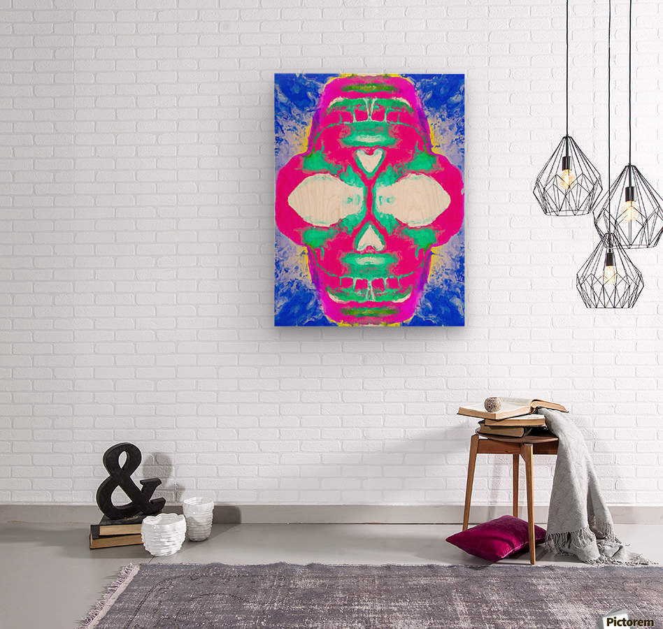 painting pink smiling skull head with blue and yellow background  Wood print