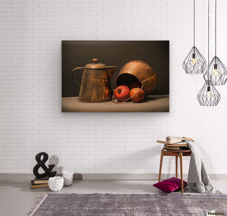 Copper Pots Pomegranate Apple  Wood print