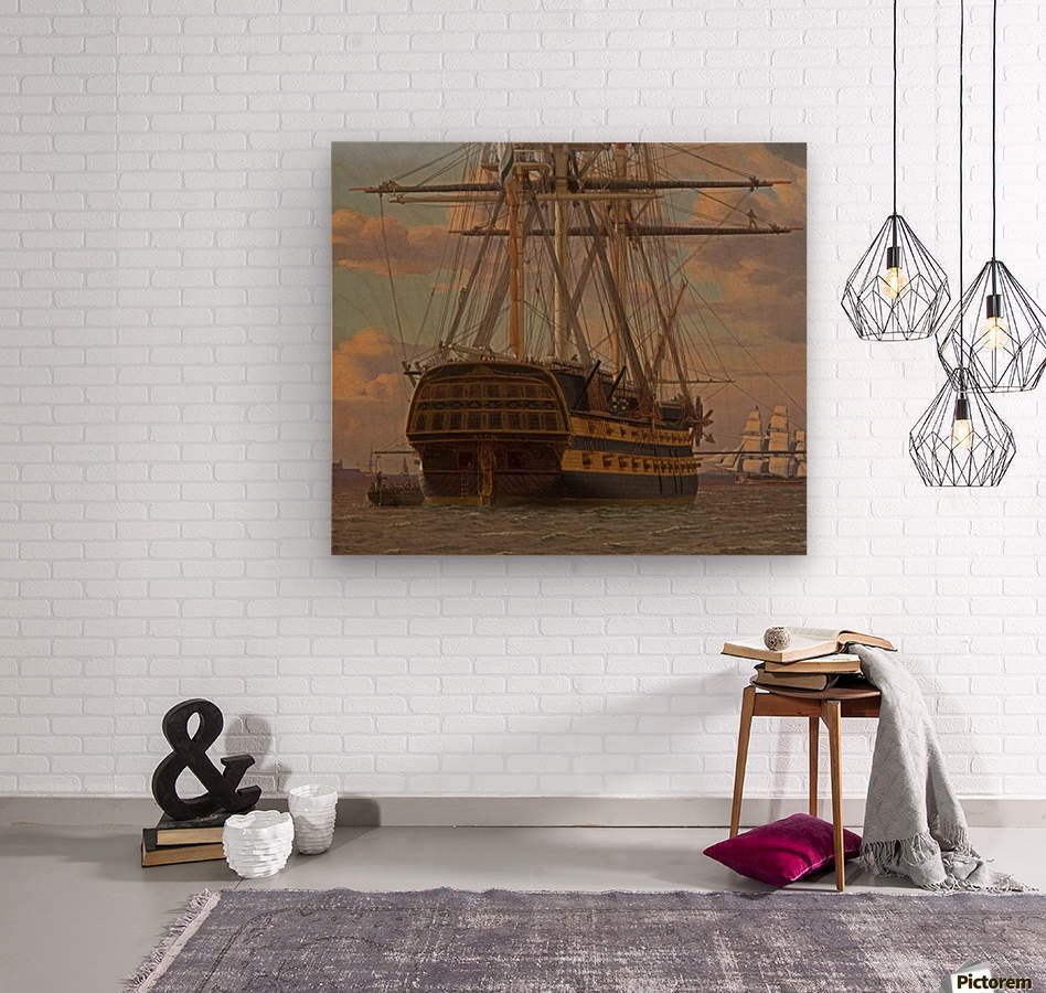 The Russian ship of the line Asow and a frigate at Anchor in the Roads of Elsinore  Wood print