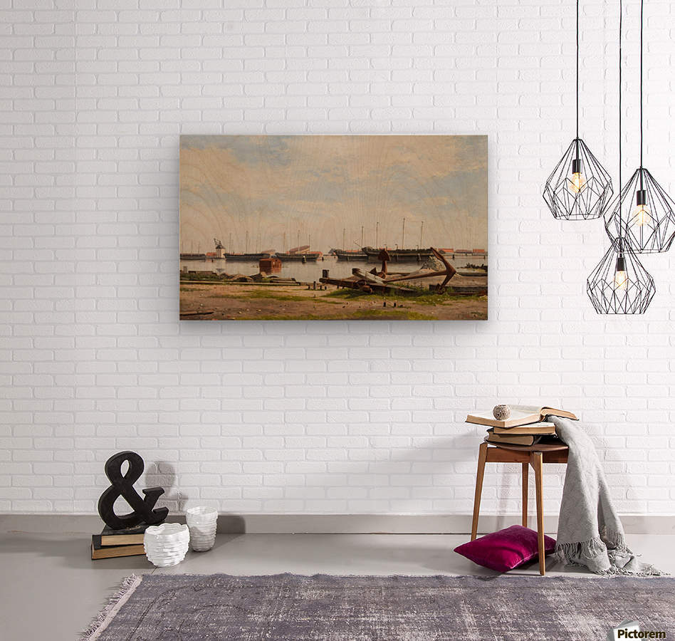 View of the wharf at Nyholm with the crane and some warships  Wood print