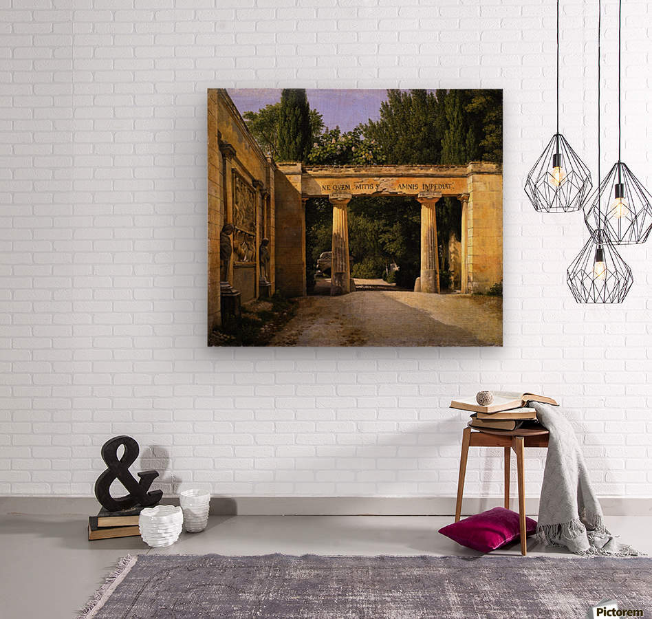 View of the Garden of the Villa Borghese in Rome  Wood print