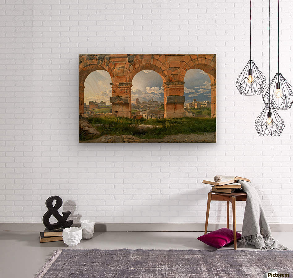 A View through Three of the North-Western Arches of the Third Storey of the Coliseum in Rome, 1815  Wood print