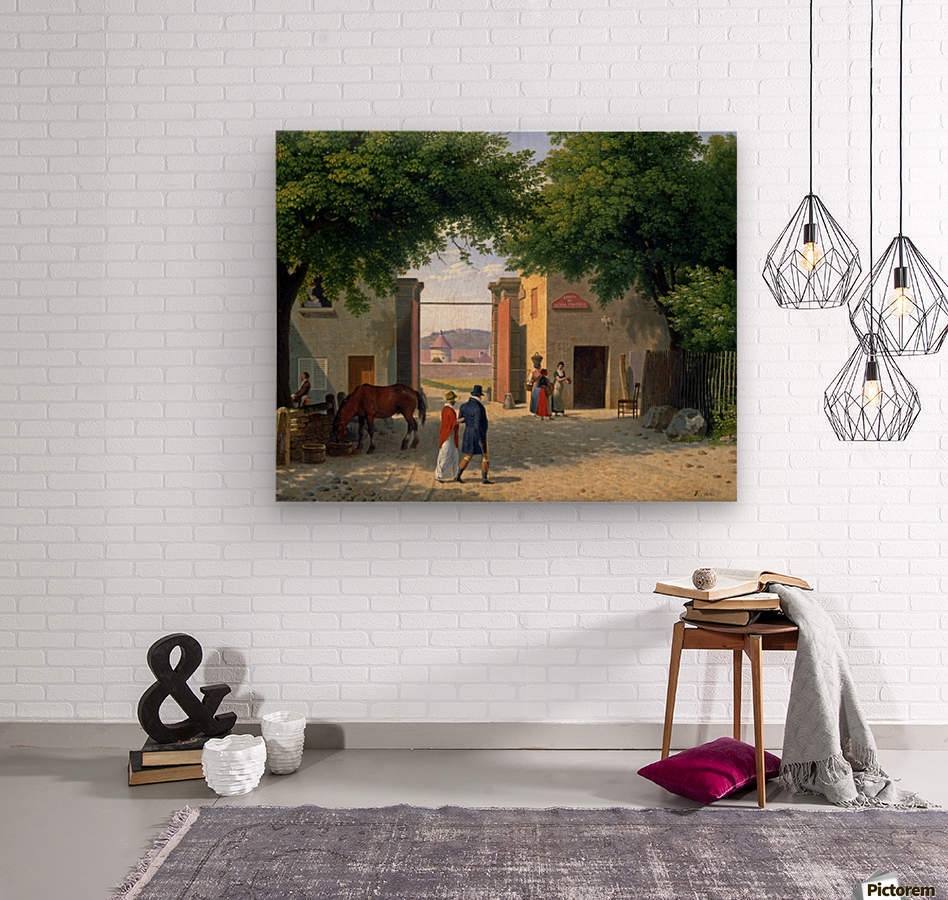 Figures walking around a villa near Rome  Wood print