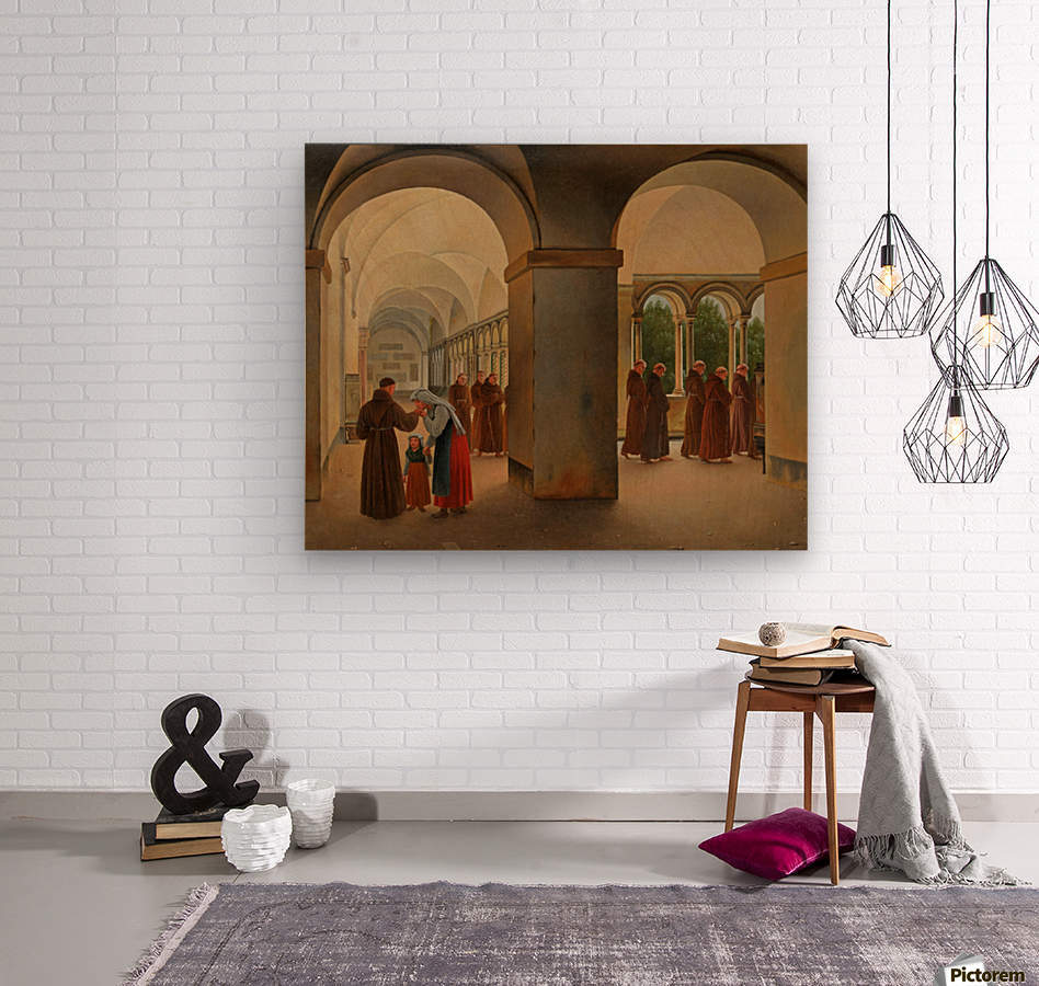 Procession of monks in the cloister of the Basilica San Paolo Fuori le Mura in Rome  Wood print
