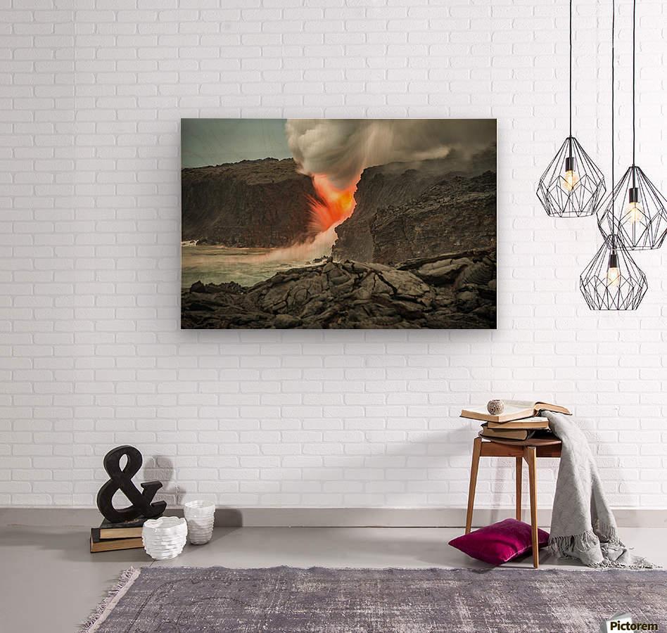 Lava Entering the Ocean  Wood print