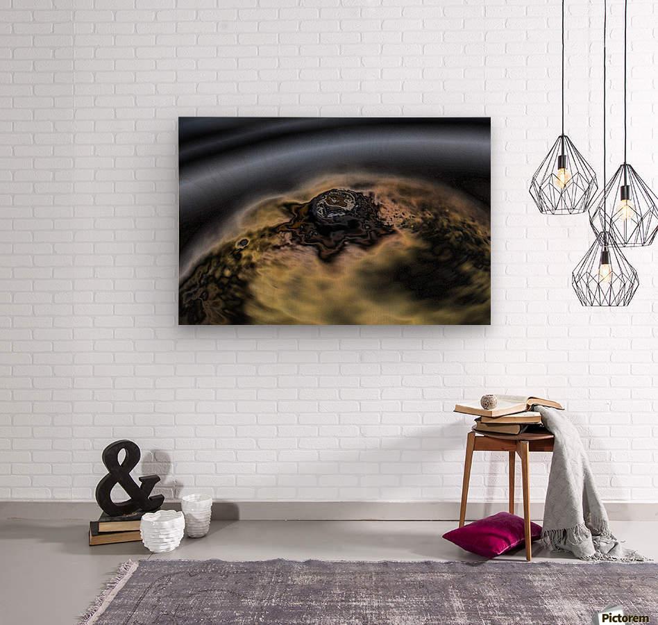 aerial view of planet citrrus rings  Wood print